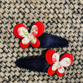Haarspeldjes vlinder rood/wit
