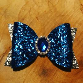 Haarstrik blauw/zilver met steen