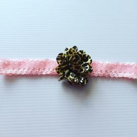 Licht rose kanten haarbandje  met bloem(dierenprint)