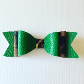 Haarstrik met clip (groen/Leopard