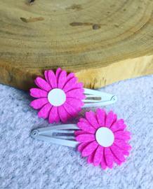 Haarspeldjes Daisy Flowers fuchsia/glitter wit