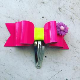 Haarspeldje met strik Fel roze/Neon geel