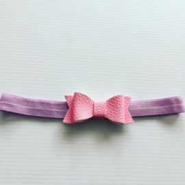 Haarbandje met strik.Lila/roze