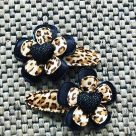 Haarspeldjes Leopard/zwart met hartje