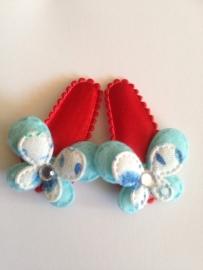 Haarspeldjes met vlindertje (licht blauw)