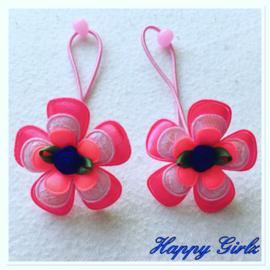 Haar elastiekje Neon roze/Licht roze/Royal blue