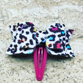 Haarclip met strik Leopard gekleurd