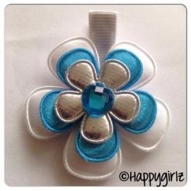 Haarlokspeldje bleu/white