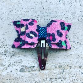 Haarspeldjes met strik gekleurd Leopard met glitters