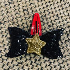 Glitter zwart haarstrikje met ster
