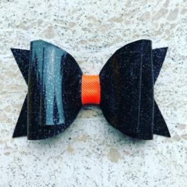 Haarstrik glitter zwart/neon oranje