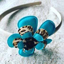 Diadeem met bloem zeegroen/Leopard print