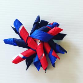 Krullie met clip navy/blauw/rood/wit