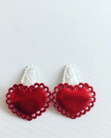 Haarspeldjes met hartje (Rood)