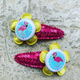Haarspeldjes met flamingo