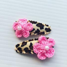 Baby haarspeldjes panterprint met bloemetje