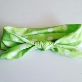 Knoop haarbandje: Lime groen/wit gestipt