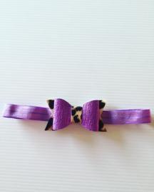 Haarbandje met strik paars/Dierenprint