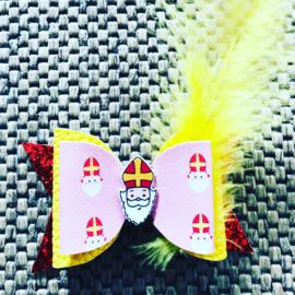 Haarstrik Sinterklaas Roze/glitter rood/geel