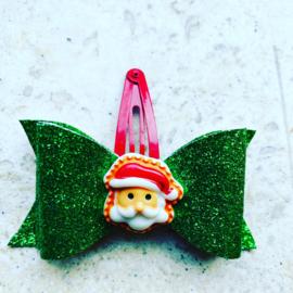Glitter groen strikje met kerstman