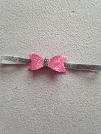 Zilver glitter haarbandje met strik (Licht rose)
