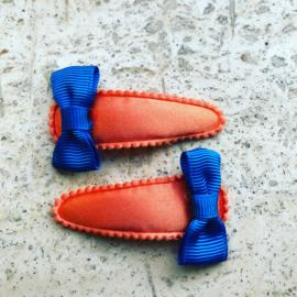 Haarspeldjes oranje/koningsblauw