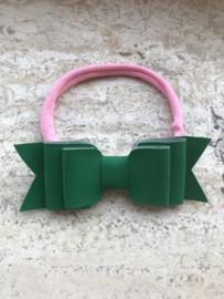 Roze Haarbandje met groene strik