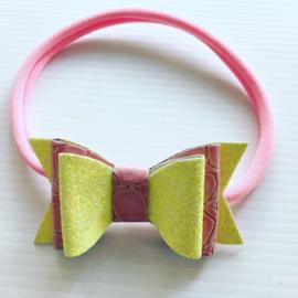 Haarbandje met strik (Rose/Licht geel)