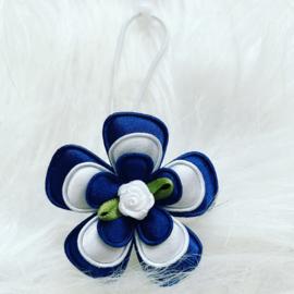 Haarelastiekje Donker blauw/wit