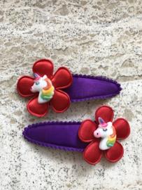 Haarspeldjes unicorn (rood)