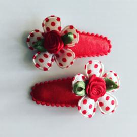 Baby haarspeldjes:Rood/wit met rode stipjes