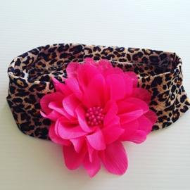 Haarbandje:(tijgerprint)met rose bloem