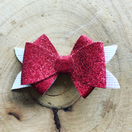 Glitter haarstrik  rood/wit?