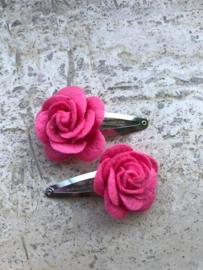 Haarspeldjes vilten roos framboos roze