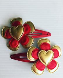Haarspeldjes:goud/Rood met goud hartje