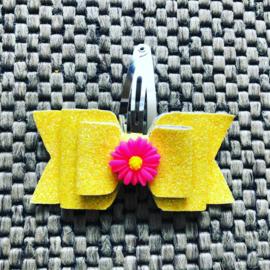 Haarstrikje glitter geel met madeliefje