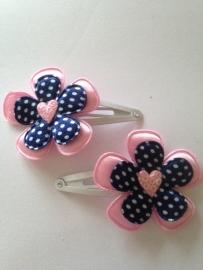 Haarspeldjes 5cm pink heart