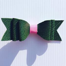 Haarstrik met clip Legergroen/Rose