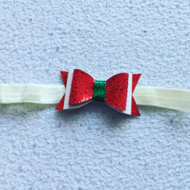 Haarbandje met strik..(creme/Rood/groen)