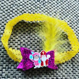 Haarbandje met strik Sint&Pier (geel/Glitter fuchsia