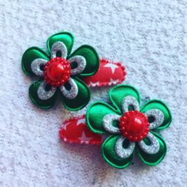 Haarspeldjes 3cm..groen/zilver/Rood