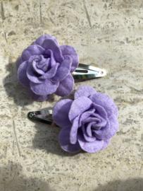 Haarspeldjes vilten roos Lila