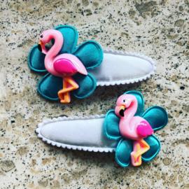 Haarspeldjes flamingo wit/zeegroen