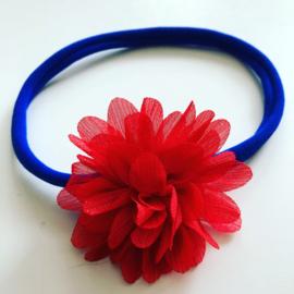 Nylon haarbandje met bloem koningsblauw/rood