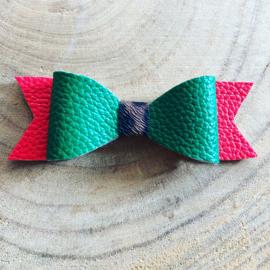Haarstrik rood/groen/Leopard