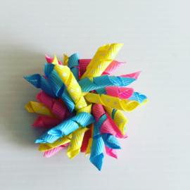 Krullie roze/geel/fel blauw