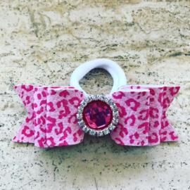 Stoer roze panter haarstrik met haarelastiekje.