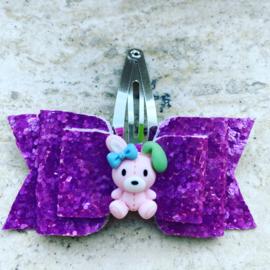 Glitter lila/roze strikje met konijntje
