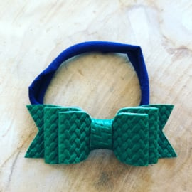 Navy stretchy haarbandje met strik