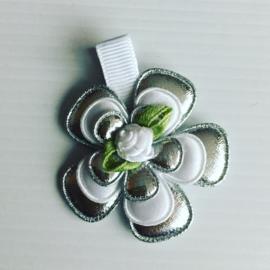 Haarlokspeldje wit/zilver